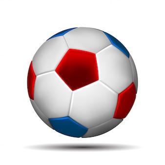 白い背景の上のロシアの旗の色でサッカーボール。図。
