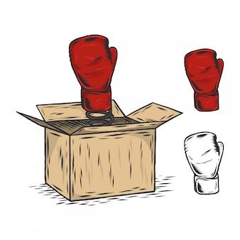 グローブ彫刻ヴィンテージイラスト付きボクシングボックス