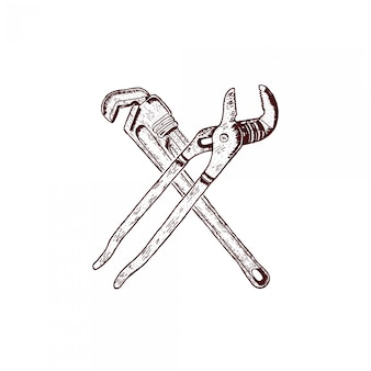 Крест гаечный ключ гравированный рисунок