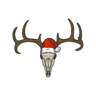 サンタ帽子を使用して手描きビンテージイラスト鹿の頭蓋骨