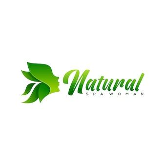天然温泉の女性のロゴデザイン