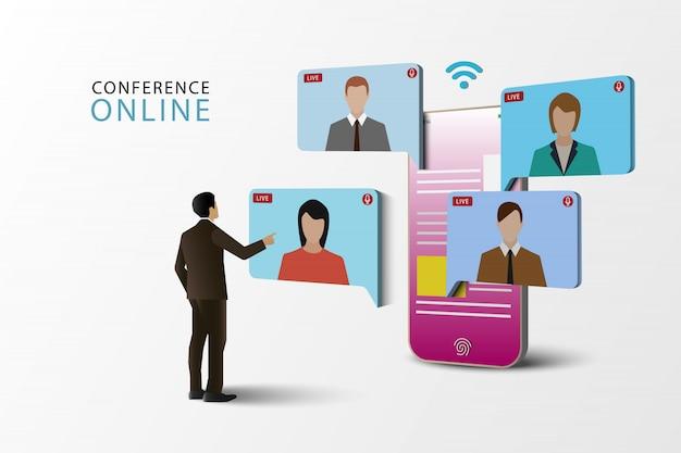 イラストコンセプトのビデオ会議。携帯電話でのオンライン会議。オンラインのライブ会議。ソーシャルメディア。
