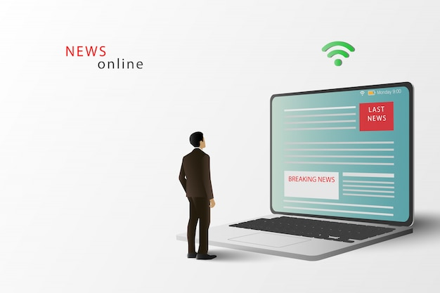 Новостной сайт на экране ноутбука. интернет новости. человек стоять читать новости на ноутбуке.