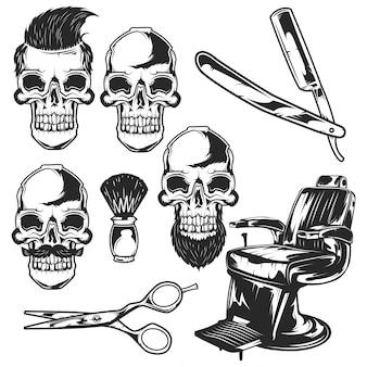理髪店の要素と頭蓋骨のセット