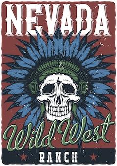 死んだインディアンチーフのイラストポスターデザイン