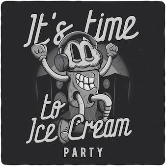面白いアイスクリームのキャラクター