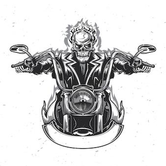 Скелет катается на мотоцикле.