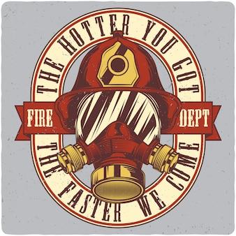 消防士のヘルメットと防毒マスク