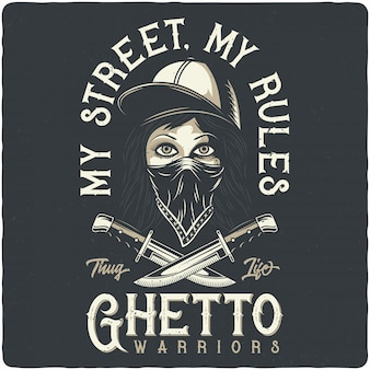 Бандитская девушка с банданой, шляпой и ножами