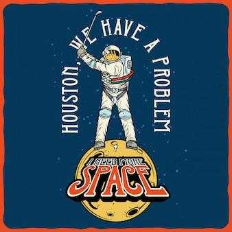 ゴルフをする宇宙飛行士