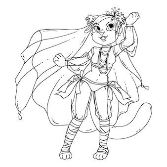 Милый кот женщина танцовщицы.