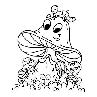キャタピラーと緑の草にかわいい漫画キノコ。