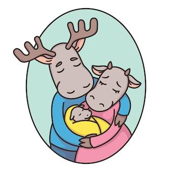 楕円形のフレームで鹿やムースの家族。お父さん、お母さん、新生児。父、母と赤ちゃん。真実の恋。