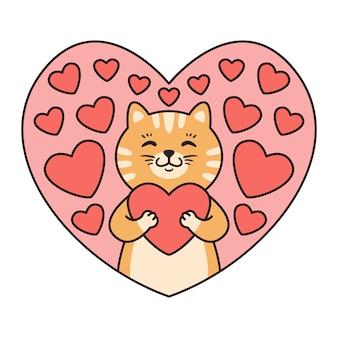 猫は心を抱きしめます。バレンタインデー、誕生日、母の日のグリーティングカード。