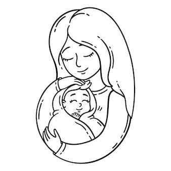 Мать держит ребенка.