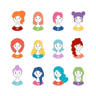Набор знаков гороскопа как женщины. коллекция знаков зодиака