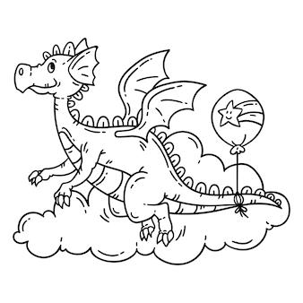 かわいい漫画の空飛ぶドラゴン。