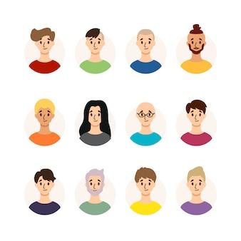 Набор мужчин с разными прическами, цветом волос и возрастом. коллекция мужских аватаров. изолированные на белом фоне плоский стиль