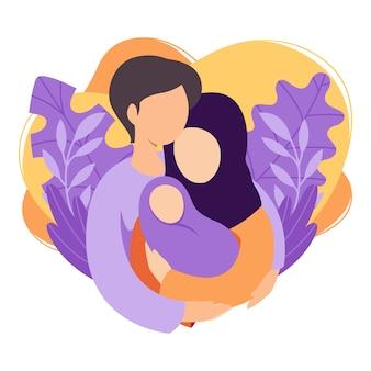 Мусульманские мать и отец, держа их новорожденного ребенка. исламская пара мужа и жены становятся родителями. мужчина обнимает женщину с ребенком. материнство, отцовство, воспитание детей. плоская иллюстрация.