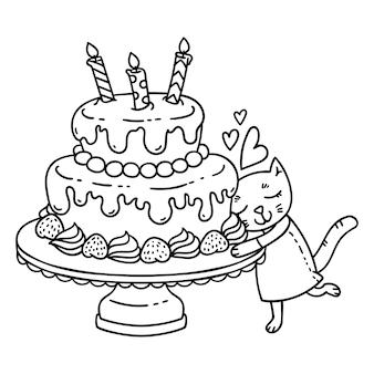 День рождения торт со свечой и милый кот.