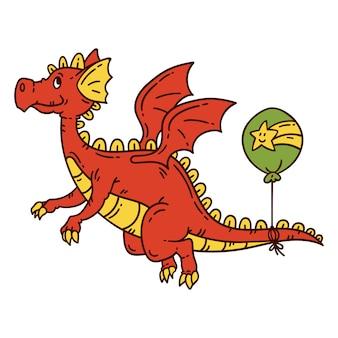 Красный летающий дракон.