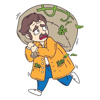 お金の袋を持つ泥棒。