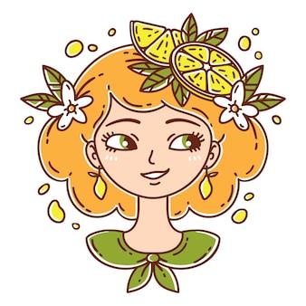 レモンを持つ少女。レモネードの女の子。