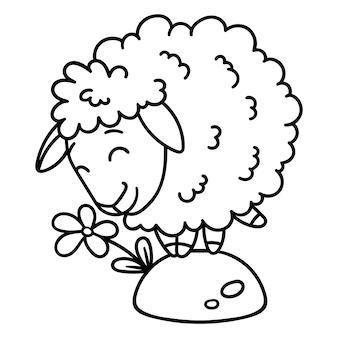 花と羊。着色ページ。