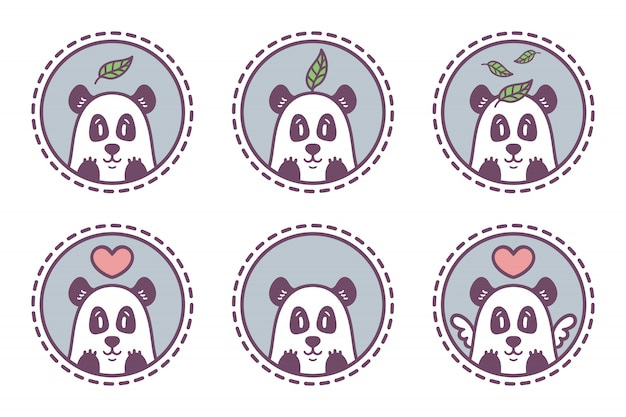 Набор панда эмблема коллекции