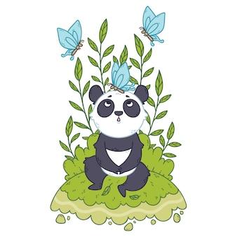 草原に座っているかわいい小さなパンダと青い蝶が飛び回っています。