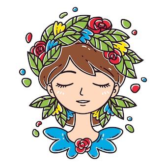 髪に花を持つ少女。