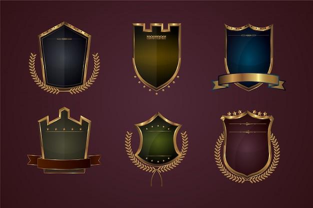 Реалистичный градиентный щит и коллекция значков