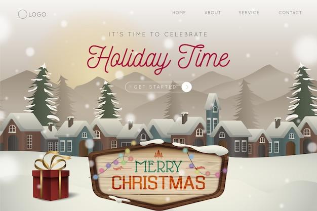 Снежная рождественская ночная целевая страница