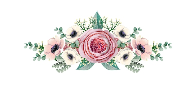 Букет с анемоном, английской розой, эвкалиптом, магнолией