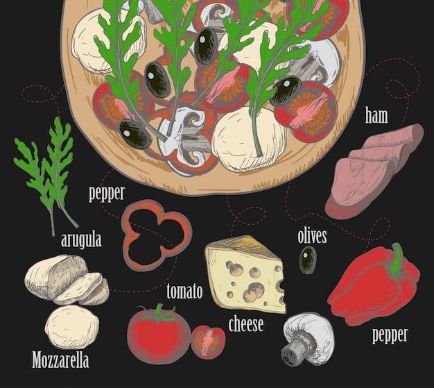 Ингредиенты для пиццы, такие как оливки, помидоры, грибы, моцарелла, руккола, ветчина, сыр, перец, нарисованные в меловом графическом стиле.