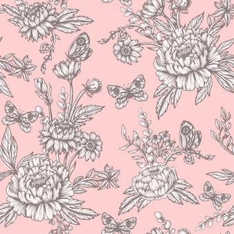 グラフィカルな牡丹と野生の花のシームレスパターン。