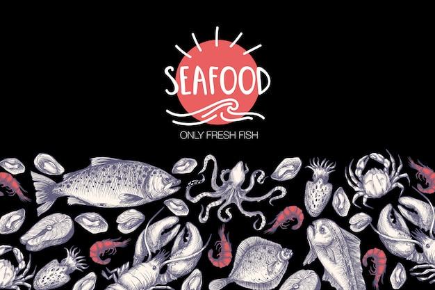 Плакат с морепродуктами в графическом стиле винтаж.