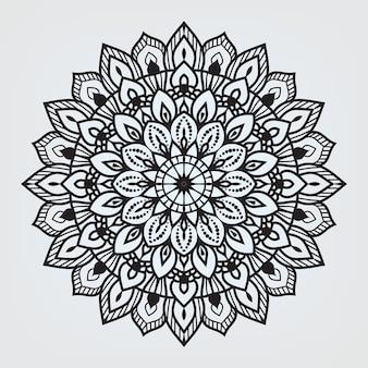 ヘナまたはタトゥーアラビアイスラム東スタイルのために分離された円形のマンダラ