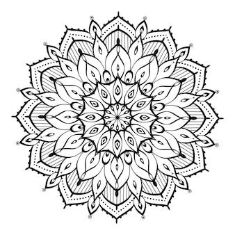 Круглая мандала, изолированная для хны или татуировки в арабском исламском восточном стиле