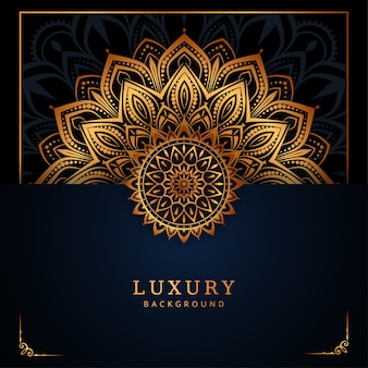 黄金のアラベスクパターンアラビアイスラム東スタイルと豪華なマンダラの背景