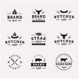 Шаблон дизайна логотипа еды барбекю / барбекю гриль