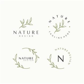 自然の葉のベクトルのロゴのデザインテンプレート