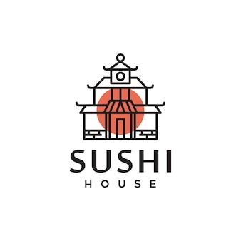 寿司伝統的な日本の家のシンボルロゴデザイン