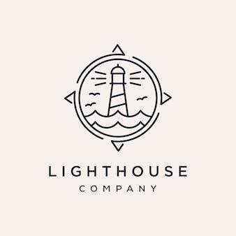 灯台コンパスベクトルのロゴのデザインテンプレート