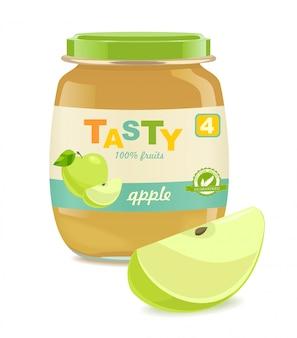 Стеклянная банка с яблочным детским питанием.