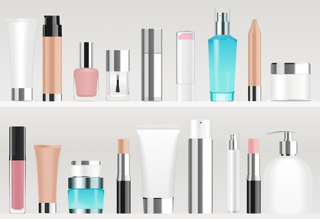 棚に化粧品のチューブ。異なる色