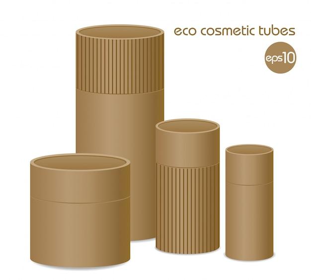 茶色のエコ化粧品容器のグループ