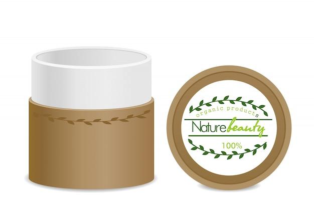 茶色のエコ化粧品容器