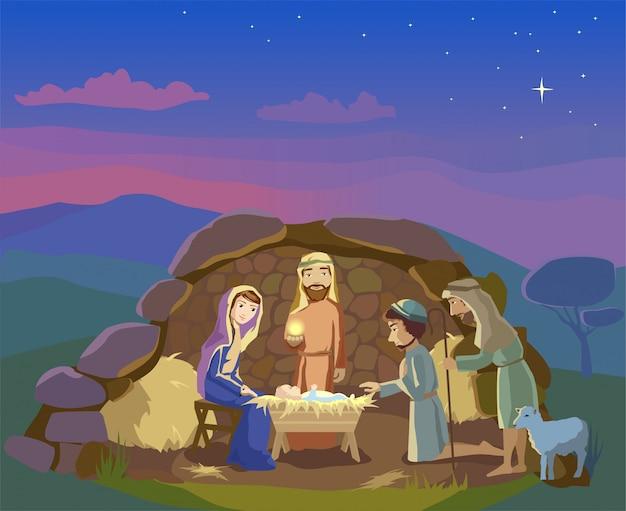 キリスト降誕のシーン。クリスマスイラスト。