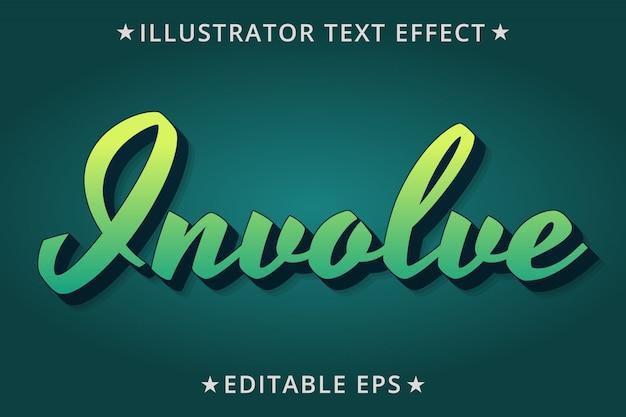 Вовлечение редактируемого эффекта стиля текста